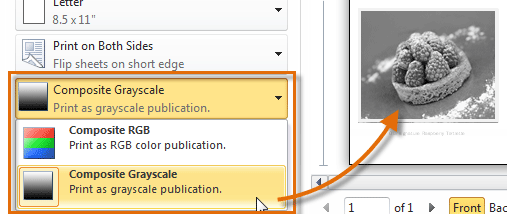 Click The Color Options Drop Down Button To Choose Between Printing Your Publication In Or Grayscale Remember You Can Only Print If