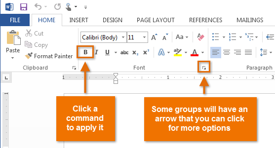 Word 2013 getting to know word full page simply click any command to apply it some groups also have an arrow in the bottom right corner which you can click to see even more commands ccuart Gallery