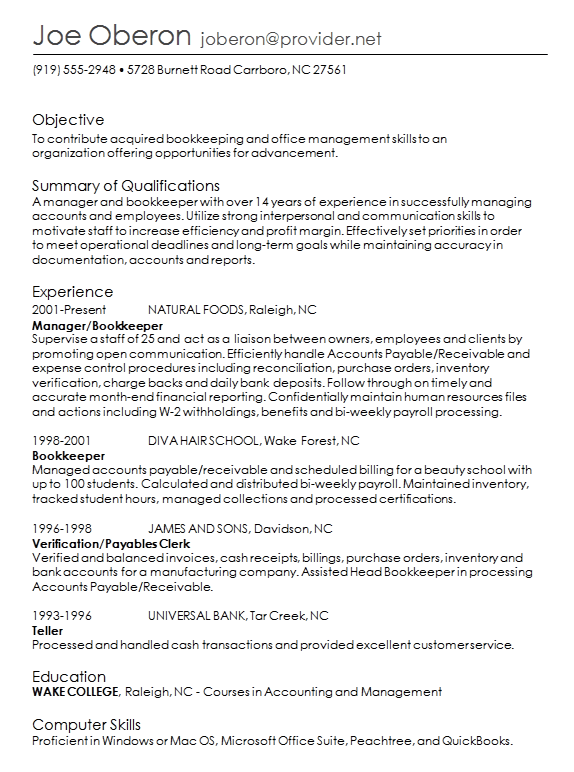 previous job in order - Resume Order