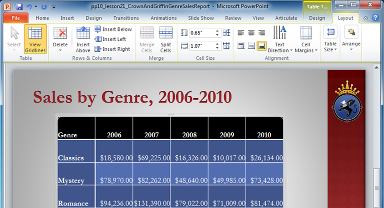 Powerpoint 2010 working with tables full page labeled graphic toneelgroepblik Choice Image